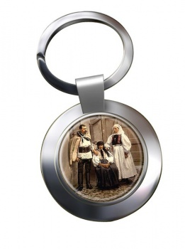 Hungarian National Costume Chrome Key Ring