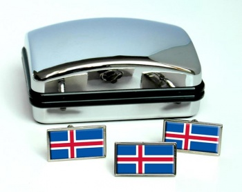 Iceland Island Flag Cufflink and Tie Pin Set