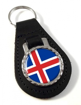Iceland Island Leather Key Fob