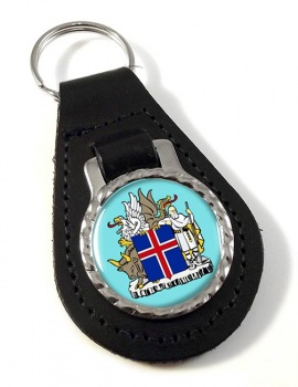 Skjaldarmerki Islands (Iceland) Leather Key Fob