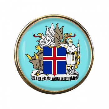 Skjaldarmerki Islands (Iceland) Round Pin Badge