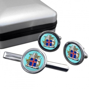 Skjaldarmerki Islands (Iceland) Round Cufflink and Tie Clip Set