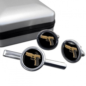 Sig Sauer P226 Round Cufflink and Tie Clip Set