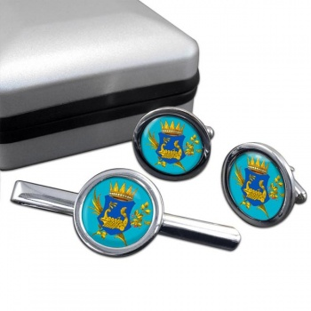 Kingdom of Illyria Round Cufflink and Tie Clip Set