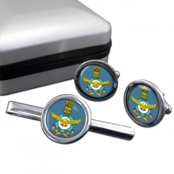 Indian Air Force Round Cufflink and Tie Clip Set