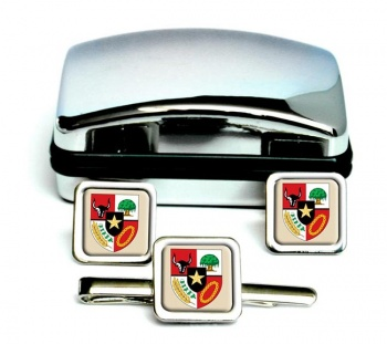 Indonesia Square Cufflink and Tie Clip Set