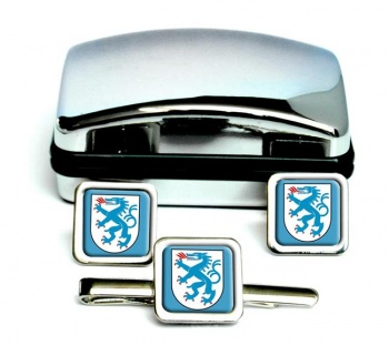Ingolstadt (Germany) Square Cufflink and Tie Clip Set