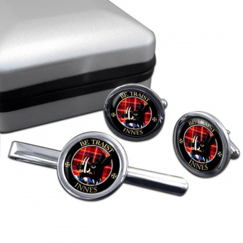 Innes Scottish Clan Round Cufflink and Tie Clip Set