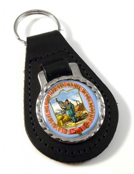 Iowa  Leather Key Fob