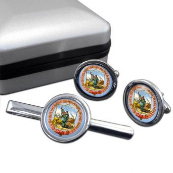 Iowa  Round Cufflink and Tie Clip Set