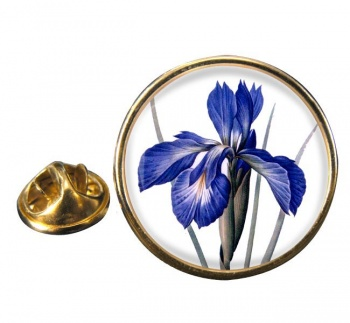 Blue Iris Round Pin Badge
