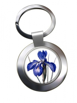 Blue Iris Chrome Key Ring