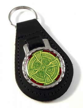 Irish Celtic Cross Leather Keyfob