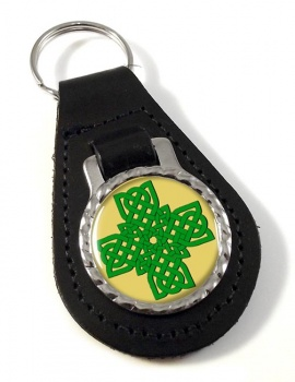 Irish Knot Cross Leather Keyfob