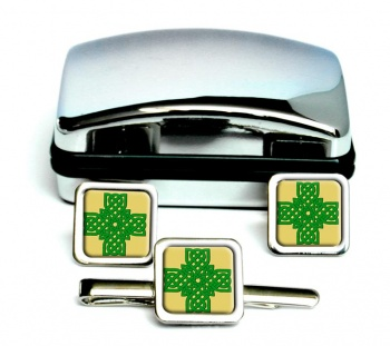 Irish Knot Cross Square Cufflinks and Tie Clip