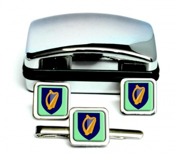 Coat of arms of Ireland Square Cufflink and Tie Clip Set