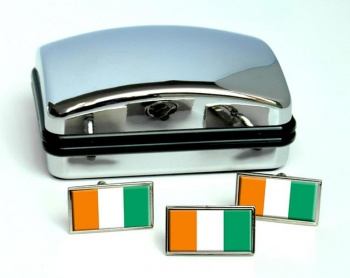 Cote d'Ivoire (Ivory Coast) Flag Cufflink and Tie Pin Set