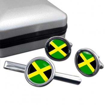 Jamaica Round Cufflink and Tie Clip Set