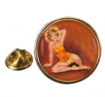 Jeanette Pin-up Girl Round Pin Badge