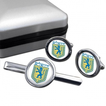 Jerusalem (Israel) Round Cufflink and Tie Clip Set