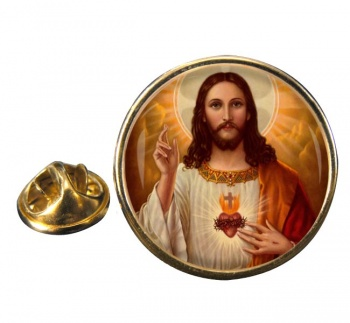 Jesus Sacred Heart Round Pin Badge