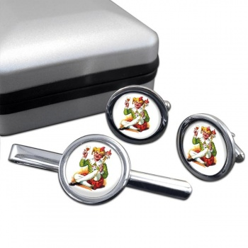 Joker Round Cufflink and Tie Clip Set