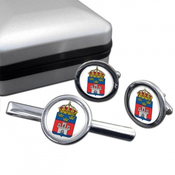 Jonkopings lan (Sweden) Round Cufflink and Tie Clip Set