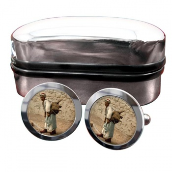 Jerusalem Water Seller Round Cufflinks