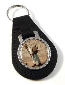 Jerusalem Water Seller Leather Key Fob