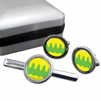 Kainuu Round Cufflink and Tie Clip Set
