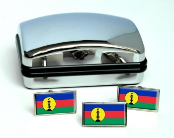 Kanak New Caledonia Flag Cufflink and Tie Pin Set