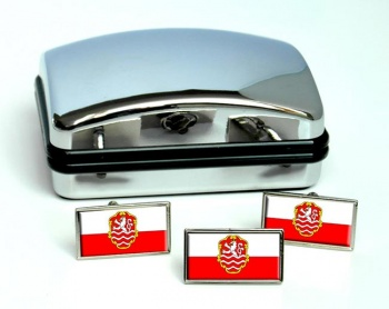Karlovy Vary Flag Cufflink and Tie Pin Set