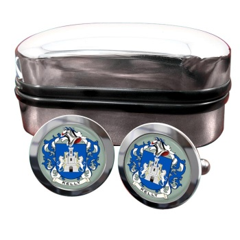 Kelly Coat of Arms Round Cufflinks