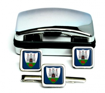 Kilkenny City (Ireland) Square Cufflink and Tie Clip Set