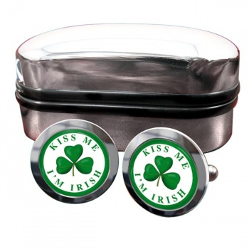 Kiss Me I'm Irish Round Cufflinks