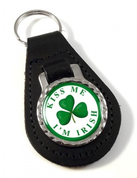 Kiss Me I'm Irish Leather Key Fob