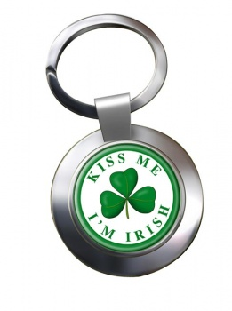 Kiss Me I'm Irish Chrome Key Ring