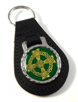 Celtic knot cross Leather Keyfob