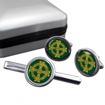 Celtic knot cross Round Cufflink and Tie Clip Set