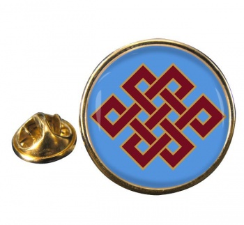 Endless Knot of Eternity Leather Round Pin Badge