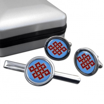 Endless Knot of Eternity Round Cufflink and Tie Bar Set