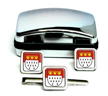 Koln Cologne (Germany) Square Cufflink and Tie Clip Set