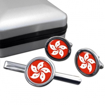 Hong Kong Round Cufflink and Tie Clip Set