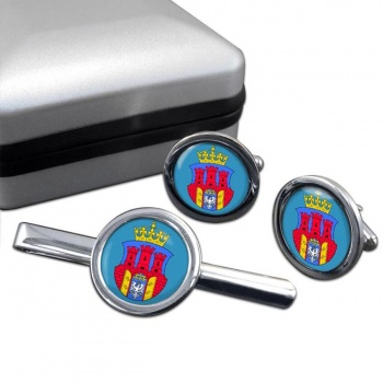 Krakow (Poland) Round Cufflink and Tie Clip Set