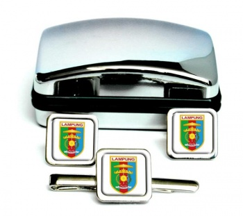 Lampung (Indonesia) Square Cufflink and Tie Clip Set