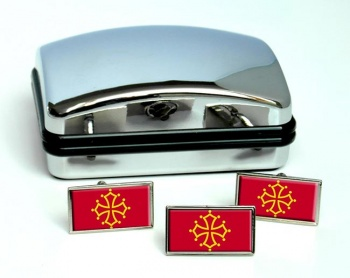 Languedoc et Midi-Pyrenees (France) Flag Cufflink and Tie Pin Set