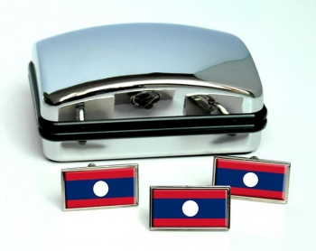 Laos Lao Flag Cufflink and Tie Pin Set