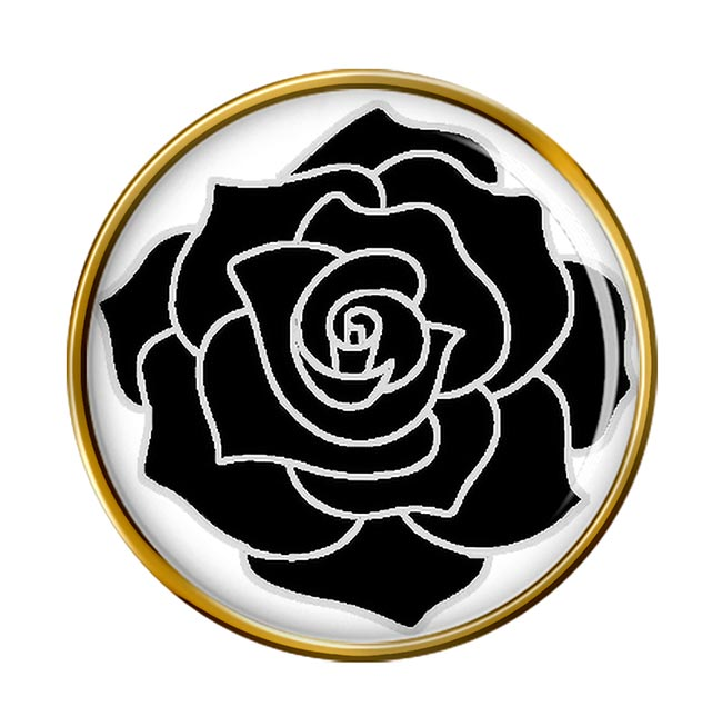 Black Rose Round Pin Badge