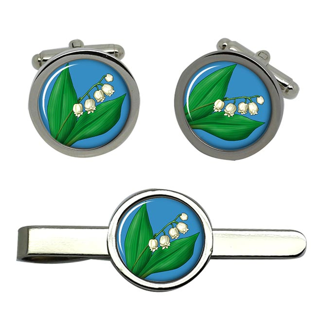 Lily of the Valley Round Cufflink and Tie Clip Sert