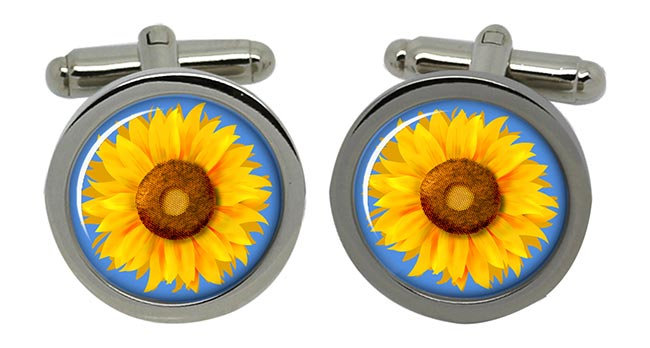 Sunflower Round Cufflinks